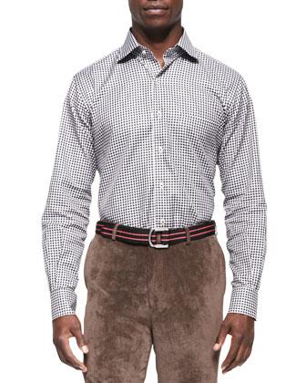 Loop Back Crewneck Sweater, Gingham-Check Sport Shirt & Micro-Corduroy Pants