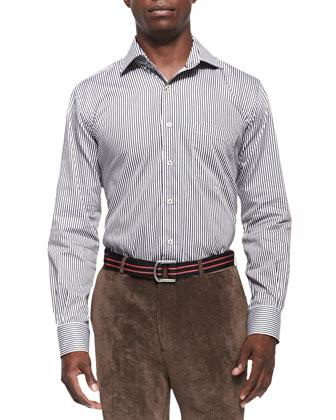 Leather-Trim Full-Zip Sweater, Striped Woven Shirt & NanoLuxe Corduroy Pants