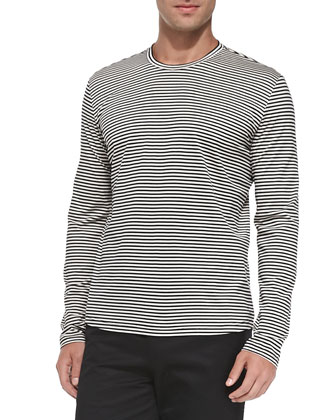 Striped Long-Sleeve Tee, White/Black