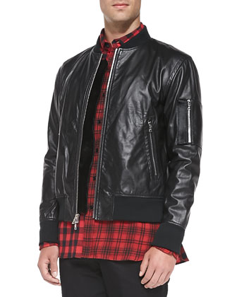 Leather Bomber Jacket with Calf Hair, Contrast-Check Button-Down Shirt & ...