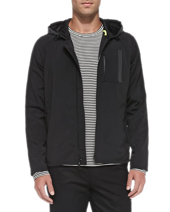 Hooded Jacket with Reflective Trim, Striped Long-Sleeve Tee & Tux-Stripe ...