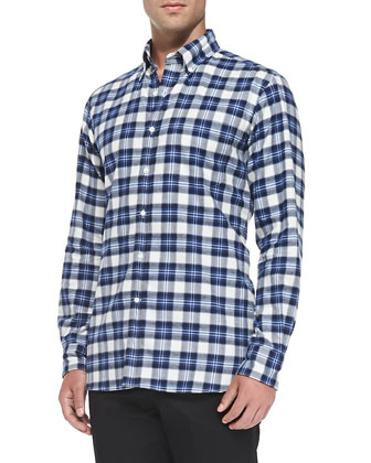 Brushed Plaid Button-Down Shirt, Blue