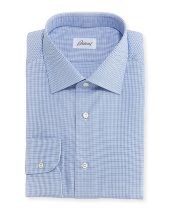 Micro-Check Cotton Shirt, Blue