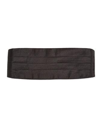 Solid Silk Satin Cummerbund, Black