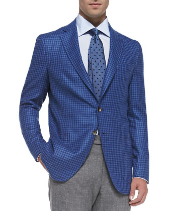 Check Two-Button Soft Jacket, Blue