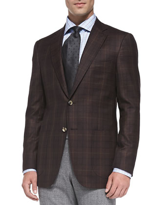 Plaid Two-Button Jacket, Burgundy
