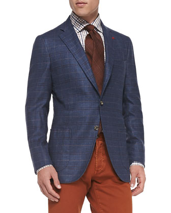Windowpane Two-Button Jacket, Blue/Rust