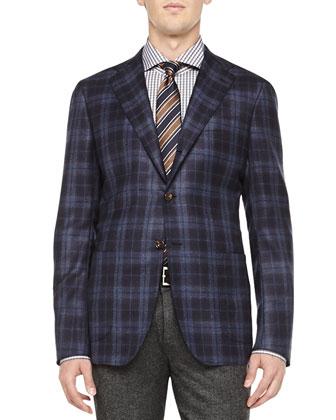 Cashmere Plaid Jacket, Navy/Brown