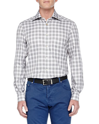 Long-Sleeve Plaid Shirt, White/Navy