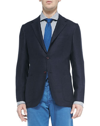 Textured Three-Button Suit Jacket & Washed Twill Five-Pocket Pants