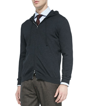 Cashmere-Blend Zip-Front Hoodie, Charcoal