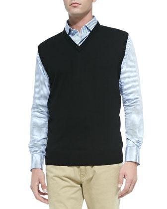 Merino Wool Sweater Vest, Bengal-Stripe Sport Shirt & Stretch Five-Pocket Pants
