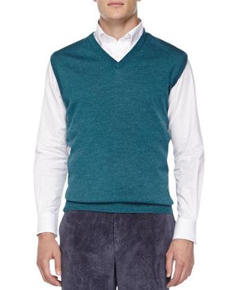 V-Neck Sweater Vest, Solid Oxford Shirt & NanoLuxe Corduroy Pants