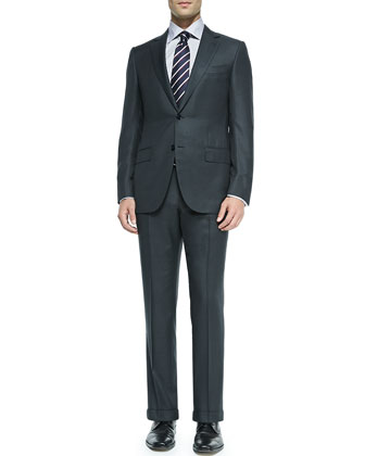 Check Wool Suit & Textured Chain Double-Stripe Tie
