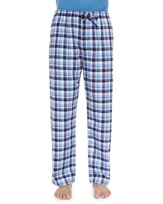 Check Flannel Lounge Pants, Light Blue
