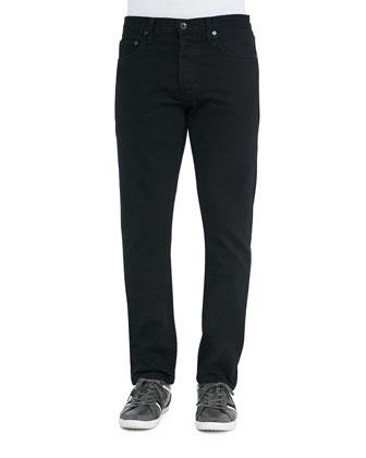 Henley Slim-Leg Denim Jeans, Black