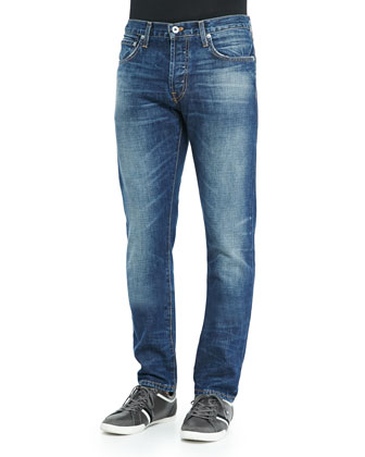 Henley Slim-Leg Jeans, Medium Blue