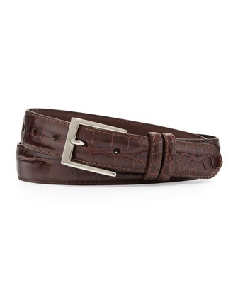 Two-Buckle Glazed Alligator Belt, Brown
