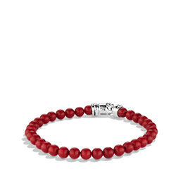 David Yurman 6mm Red Coral Spiritual Bead Bracelet