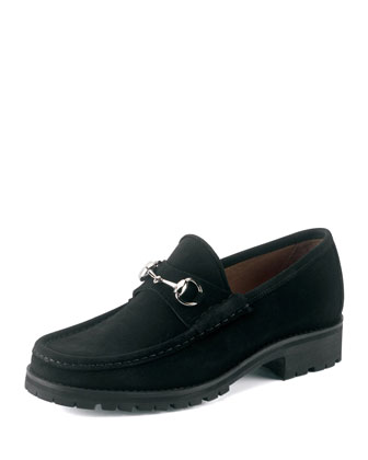 Suede Loafer, Black