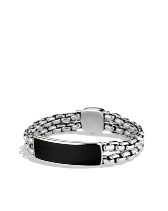 Wide Black Onyx ID Bracelet