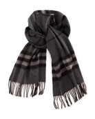 Exploded Check Cashmere Scarf, Charcoal