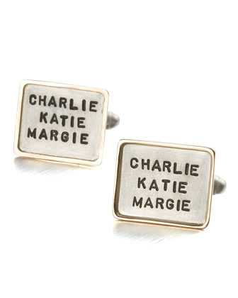 Personalized Square Cuff Links, 3 Lines