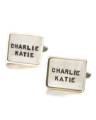 Personalized Square Cuff Links, 2 Lines