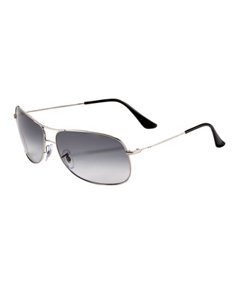 Square Aviators, Shiny Silver