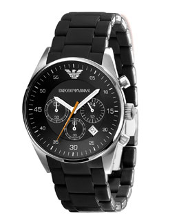 Emporio Armani Silicon-Wrapped Bracelet Watch, Black