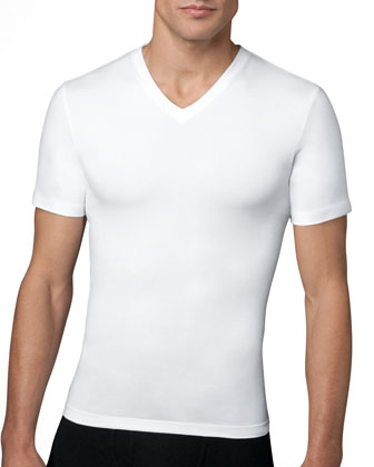 Cotton Compression V-Neck Tee, White
