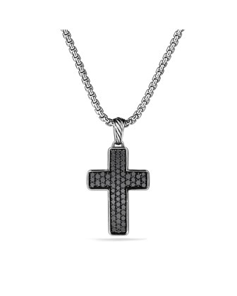 Pav?? Chevron Cross with Black Diamonds on Chain