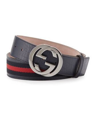 G Buckle Belt, Blue