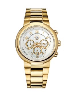 Philip Stein Gold Active Chronograph Watch on Gold Bracelet