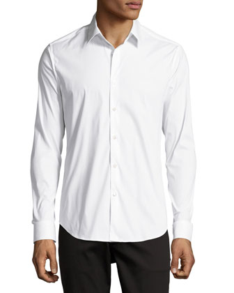 Stretch-Cotton Shirt, White