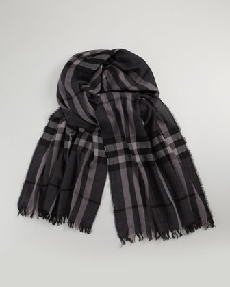Crinkled Check Scarf, Charcoal