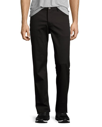 Straight-Leg Twill Pants, Black