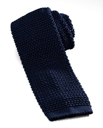 Knit Silk Tie, Marine