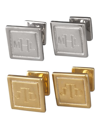 Engraved Square Cuff Links