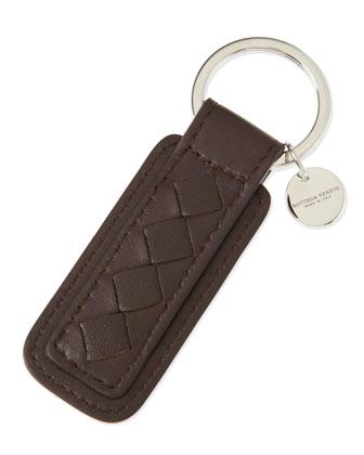 Intrecciato Key Chain, Brown