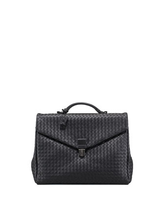 Two-Gusset Woven Briefcase, Black