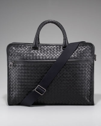 Softie Slim Woven Briefcase, Black