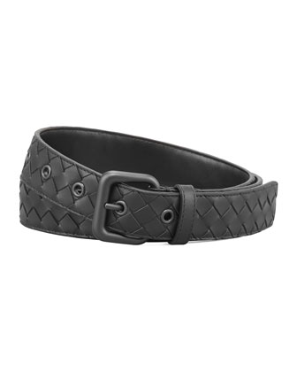 Woven Leather Dress Belt, Black