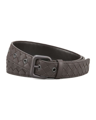 Woven Leather Dress Belt, Brown