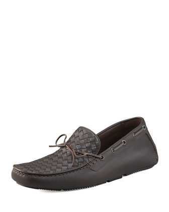 Woven Leather Driver, Brown