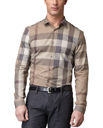 Check Sport Shirt & Navy Jeans