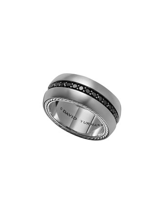 Streamline Wide Band Ring with Black Diamonds