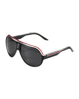 Carrera Plastic Aviator Sunglasses, Black/Multicolor