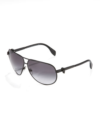 Skull Aviator Sunglasses, Black