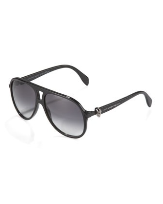 Plastic Skull Aviator Sunglasses, Black